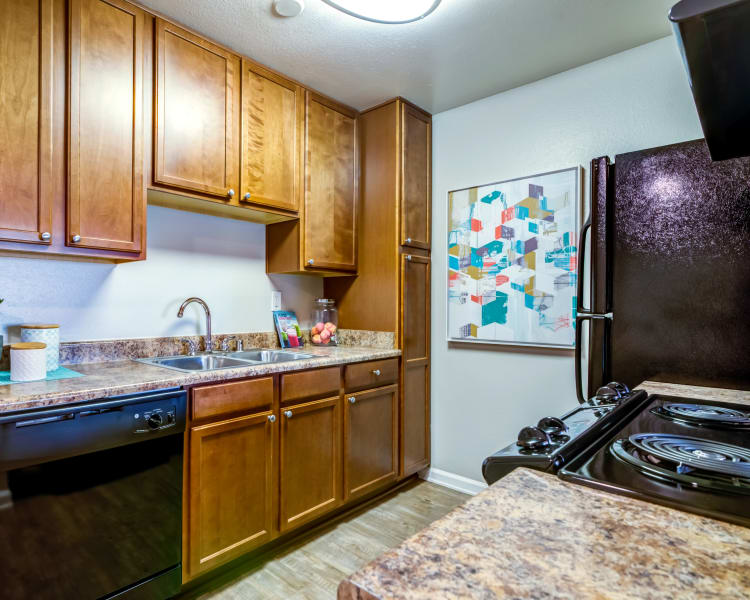 Modern kitchen with ample cupboard space and granite countertops in a model home at Sofi Poway in Poway, California