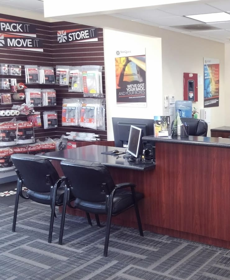 Interior of the leasing office at StorQuest RV/Boat and Self Storage in Indio, California