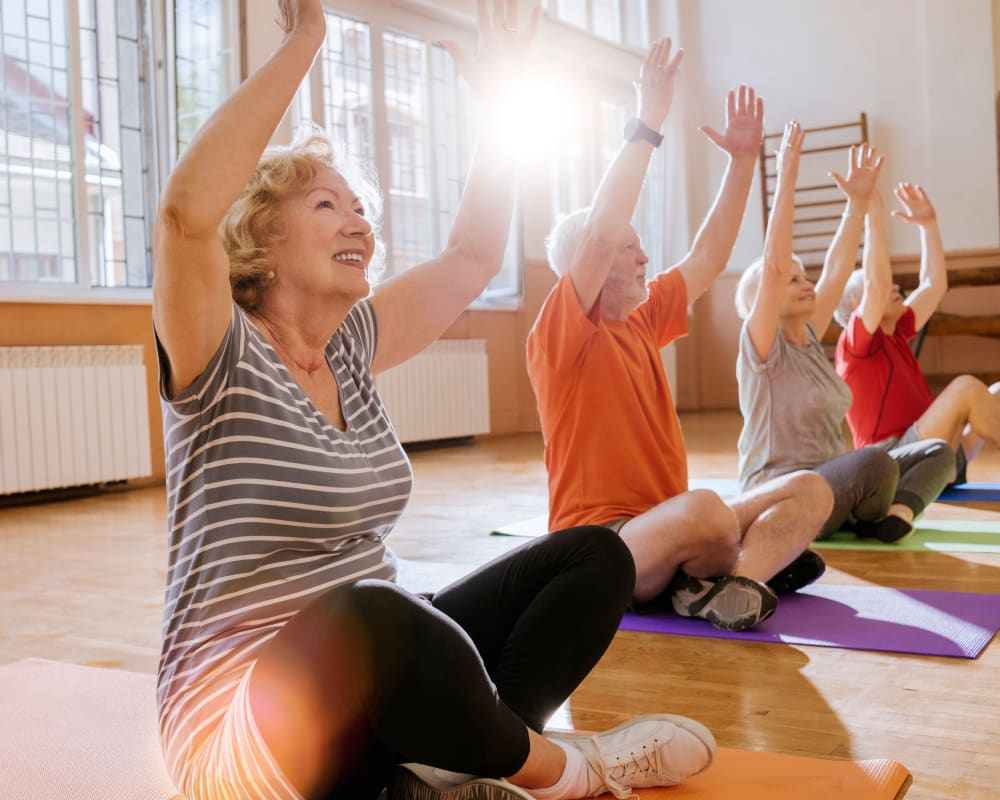 Resident fitness classes at Brown Deer Place in Coralville, Iowa.