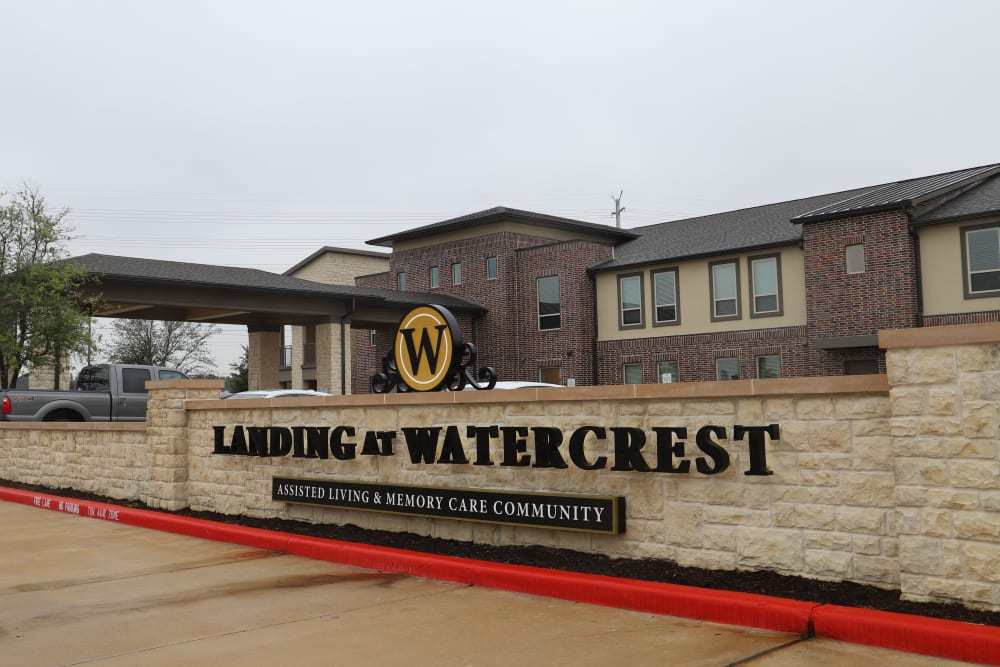 The entrance to Landing at Watercrest Shadow Creek Ranch in Pearland, Texas
