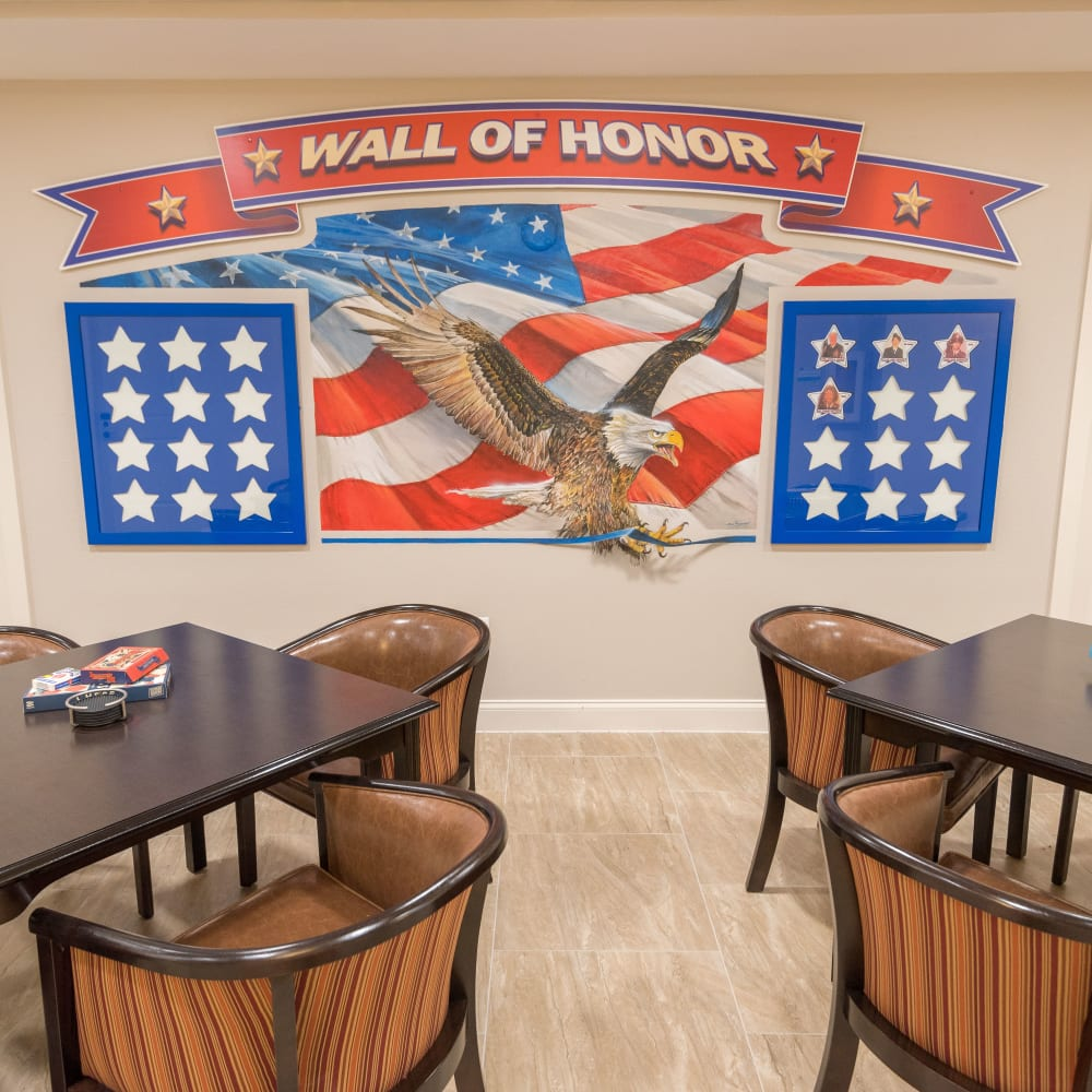 Wall of Honor in the activity room at Inspired Living Delray Beach in Delray Beach, Florida
