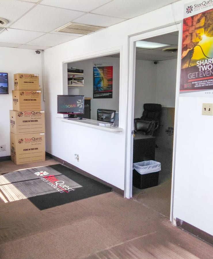 The leasing office at StorQuest Self Storage in Lakewood, California